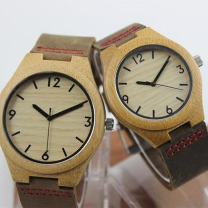 Wooden Bamboo Watch Big Dial Genuin..