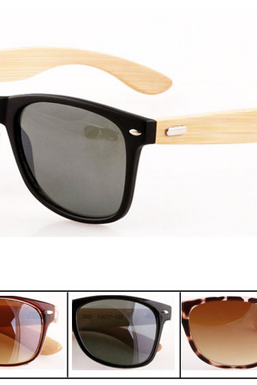 Retro Sunglasses Plastic Frame Handmade Natural Bamboo Leg Sunglasses UV400