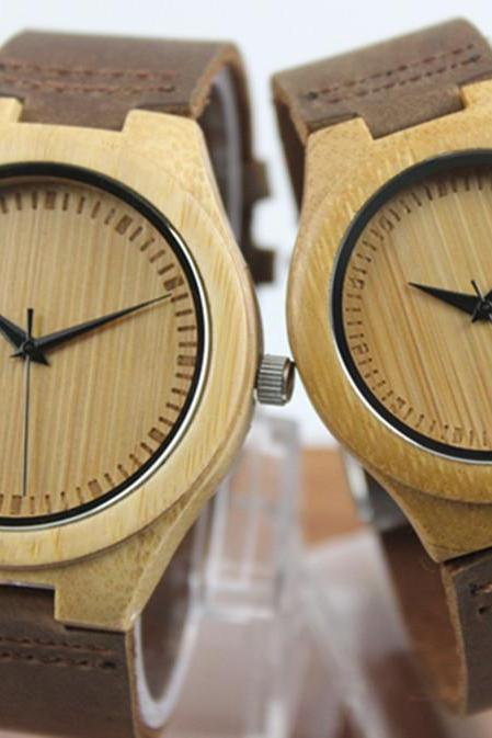 Fashion Lovers Bamboo Table Casual Business Really Belt Watch Simple Couple Watches