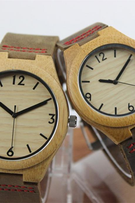 Wooden Bamboo Watch Big Dial Genuine Leather Belt Watches Couple Tables