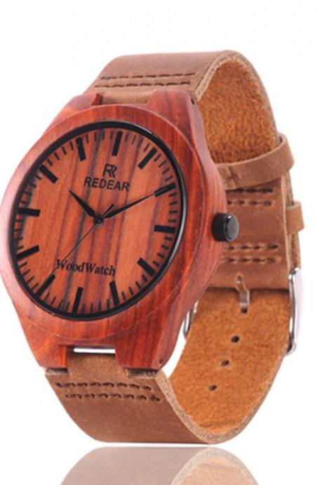 Red Wooden Bamboo Watch Fashion Watches Couple Tables