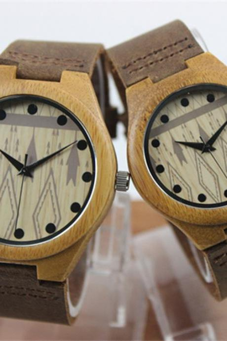 Casual Male And Female Couple Big Dial Bamboo Wood Watch Really Belt
