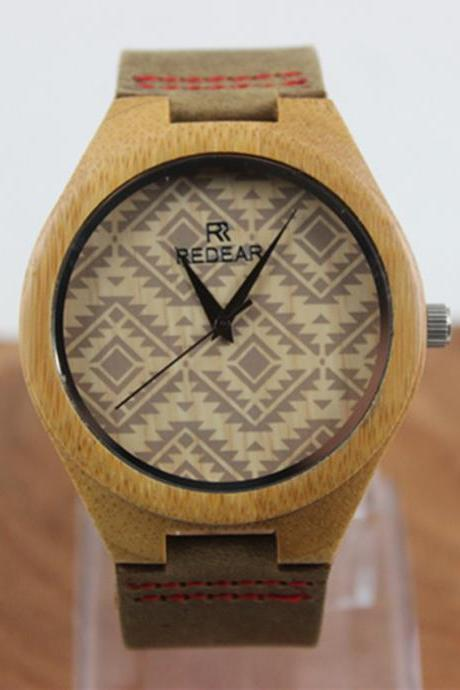 Fashion Lovers Wood Grain Dial Bamboo Table Really Belt Watch