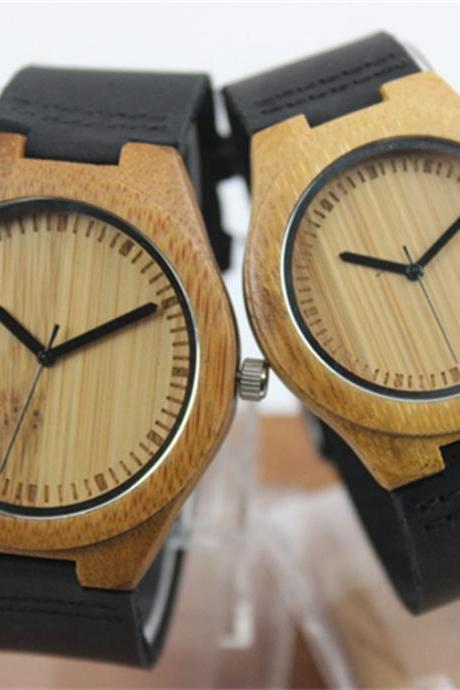 Bamboo Black Leather Quartz Watch Laser Scale Male And Female Couple Table